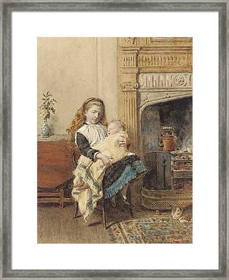 Minding Baby Framed Print by George Goodwin Kilburne