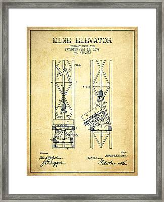 Mine Elevator Patent From 1892 - Vintage Framed Print by Aged Pixel