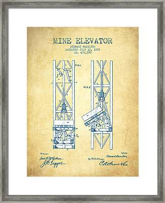 Mine Elevator Patent From 1892 - Vintage Paper Framed Print