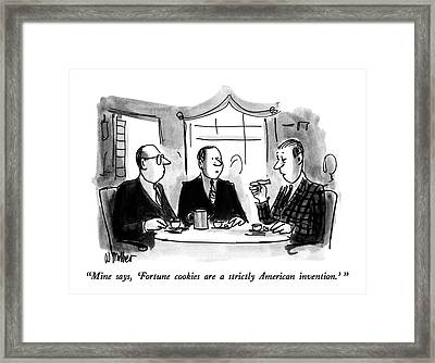 Mine Says, 'fortune Cookies Are A Strictly Framed Print by Warren Miller