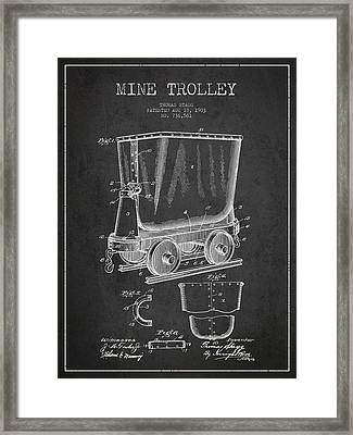 Mine Trolley Patent Drawing From 1903 - Dark Framed Print