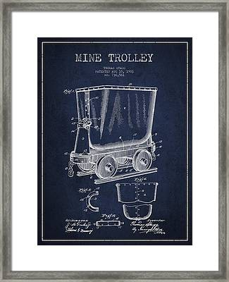 Mine Trolley Patent Drawing From 1903 - Navy Blue Framed Print