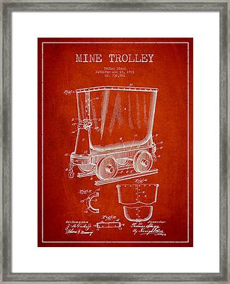 Mine Trolley Patent Drawing From 1903 - Red Framed Print