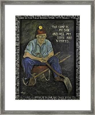 Miner - Lamp Is My Sun Framed Print by Eric Cunningham