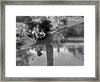 Miner Panning For Gold Framed Print by Underwood Archives