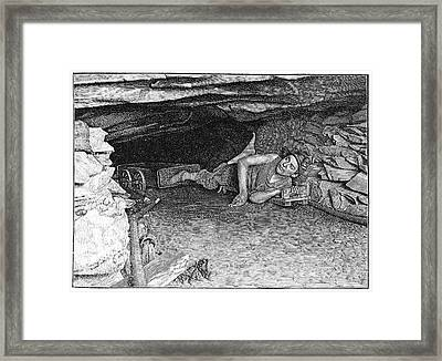 Miner With Foot-drawn Cart, Artwork Framed Print by Science Photo Library