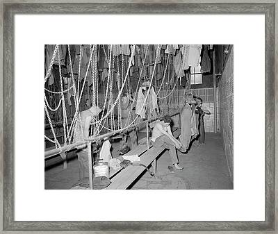 Miners Changing Clothes In Wash Framed Print