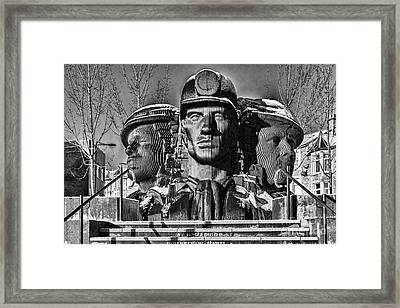 Miners In The Snow 2 Mono Framed Print