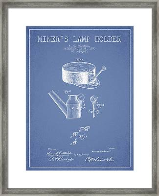 Miners Lamp Holder Patent From 1890 - Light Blue Framed Print