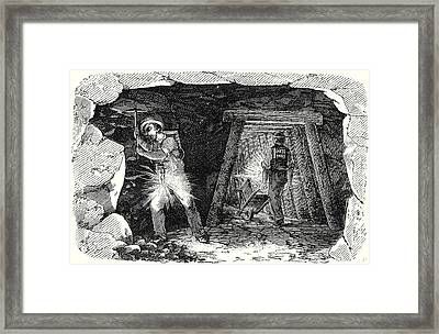 Miners Lamp. Miners At Work Framed Print by English School