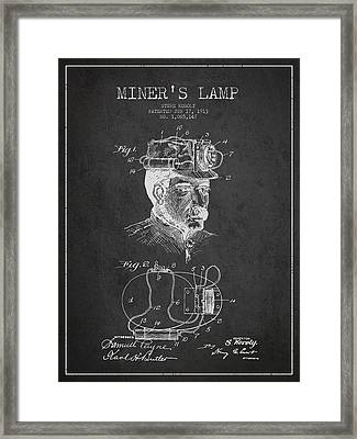 Miners Lamp Patent Drawing From 1913 - Dark Framed Print