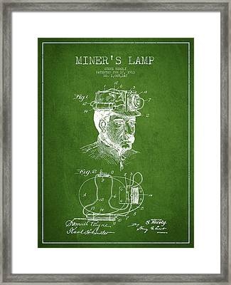 Miners Lamp Patent Drawing From 1913 - Green Framed Print