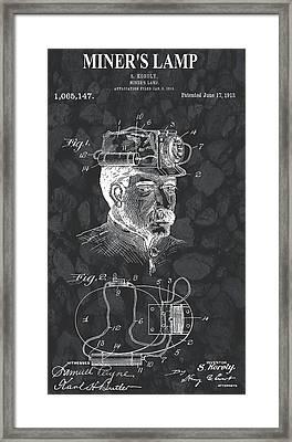 Miner's Lamp Patent On Coal Framed Print