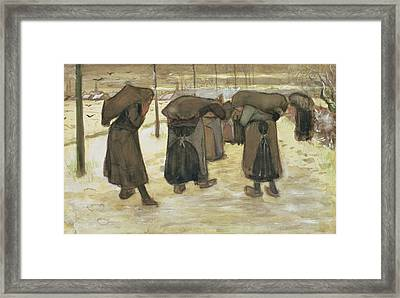 Miners Wives Carrying Sacks Of Coal Framed Print by Vincent van Gogh