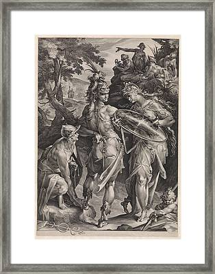 Minerva And Mercury Arm Perseus Framed Print by Jan Harmensz. Muller And Bartholomeus Spranger
