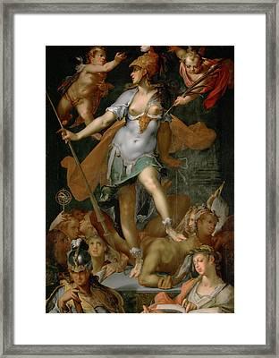 Minerva Victorious Over Ignorance Framed Print by Bartholomeus Spranger