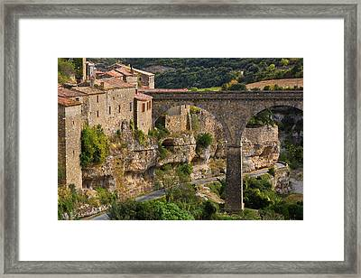 Minerve Village And The Bridge Framed Print by George Munday