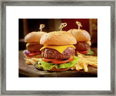 Mini Cheeseburgers With Fries Framed Print by Lauripatterson