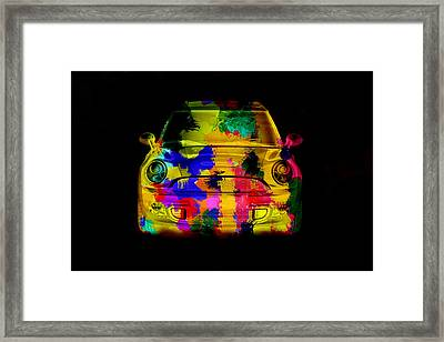 Mini Cooper Colorful Abstract On Black Framed Print by Eti Reid