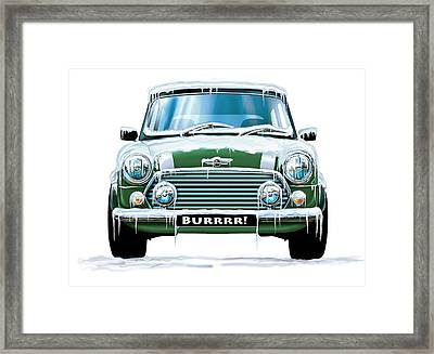 Mini Cooper On Ice Framed Print by David Kyte