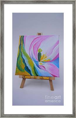 Framed Print featuring the painting Mini O'keefe by Diana Bursztein