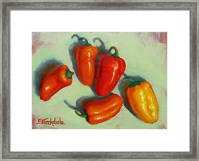 Framed Print featuring the painting Mini Peppers Study 1 by Margaret Stockdale