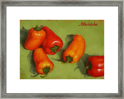 Framed Print featuring the painting Mini Peppers Study 2 by Margaret Stockdale