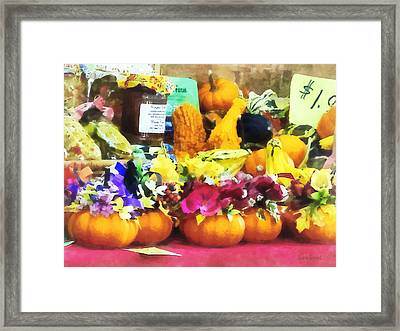 Mini Pumpkins And Gourds At Farmer's Market Framed Print
