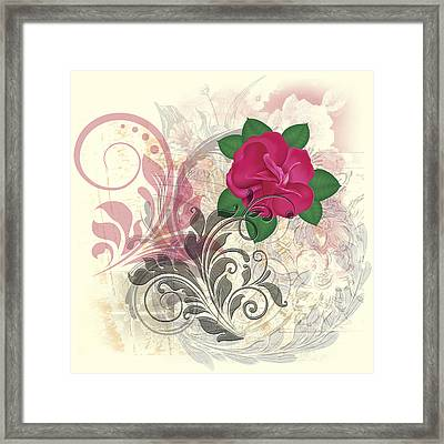 Mini Rose Flourish Framed Print