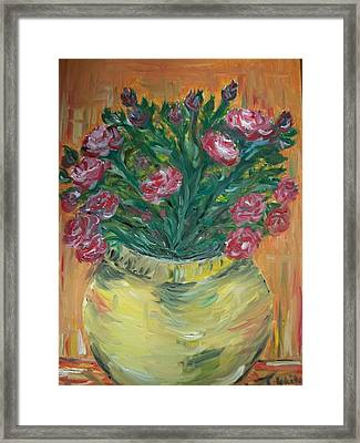 Framed Print featuring the painting Mini Roses by Teresa White