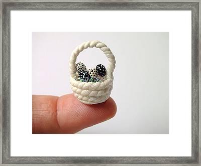 Mini Spotted Easter Basket Framed Print