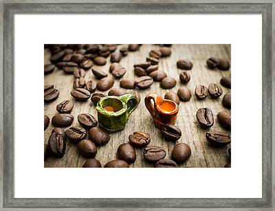 Miniature Coffee Cups Framed Print by Aged Pixel