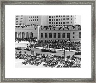 Miniature La City Hall Parade Framed Print