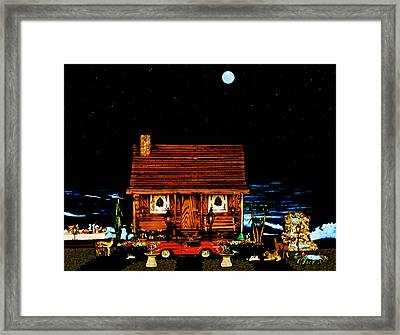 Miniature Log Cabin Scene With The Classic 1958 Ferrari 250 Testa Rossa In Color Framed Print by Leslie Crotty