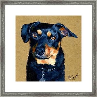 Miniature Pinscher Dog Painting Framed Print by Alice Leggett