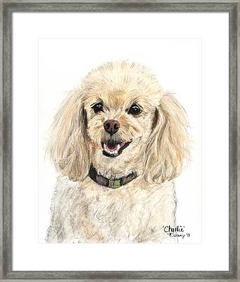 Miniature Poodle Painting Champagne Framed Print