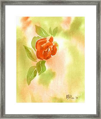 Framed Print featuring the painting Miniature Red Rose II by Kip DeVore