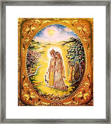 Miniature Rukmini-krishna  Framed Print by Ananda Vdovic