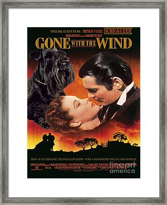 Miniature Schnauzer Art Canvas Print - Gone With The Wind Movie Poster Framed Print