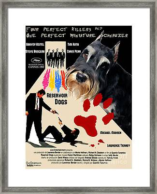 Miniature Schnauzer Art Canvas Print - Reservoir Dogs Movie Poster Framed Print by Sandra Sij