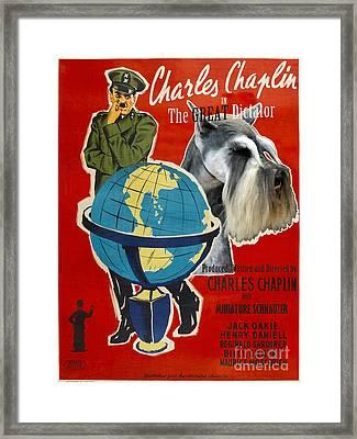 Miniature Schnauzer Art Canvas Print - The Great Dictator Movie Poster Framed Print