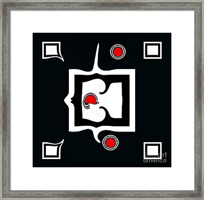 Minimalism Abstract Geometric Black White Red Art No.390. Framed Print by Drinka Mercep