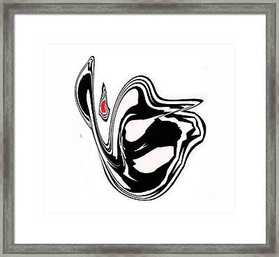 Minimalism Black White Red Art Angel No.35. Framed Print