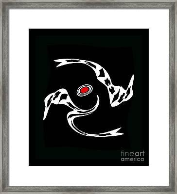 Minimalist Art Black White Red Print - Dance 2. Framed Print by Drinka Mercep