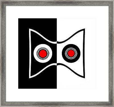Minimalist Art Geometric Black White Red Abstract Print No.50. Framed Print by Drinka Mercep