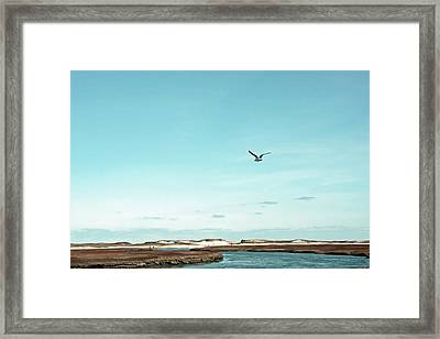 Minimalist Blue And Brown Seascape Framed Print by Brooke T Ryan