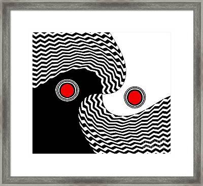 Minimalist Op Art Black White Red No.216 Framed Print by Drinka Mercep