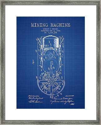 Mining Machine Patent From 1914- Blueprint Framed Print by Aged Pixel