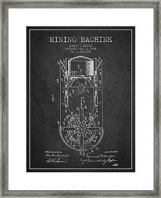 Mining Machine Patent From 1914- Charcoal Framed Print