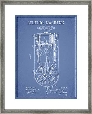 Mining Machine Patent From 1914- Light Blue Framed Print by Aged Pixel